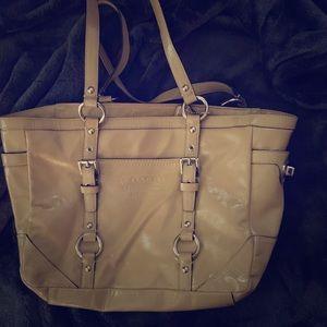 Beige vinyl Coach bag